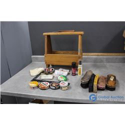 Shoe Shine Wooden Caddy and Supplies