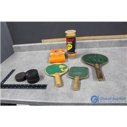 Vintage Ping Pong Paddles and Balls, Hockey Pucks and Tennis Balls