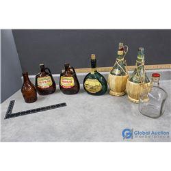 Vintage Glass Liquor Bottles - Ruffino, Kings Ransom, Irish Mist, Mateus, Cooderham's