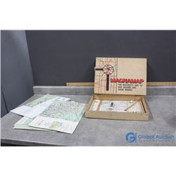 Magnamap in Original Box and Various Large Maps