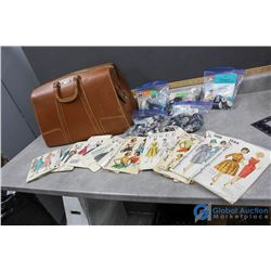 Vintage Briefcase full of Sewing Patterns and Supplies