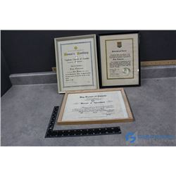 (3) Framed Certificates