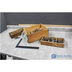 Wooden Fruit Crate with (3) 3-Cube Wooden Orginizers with Contents