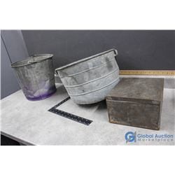 (2) Galvenized Pails and Tin Box