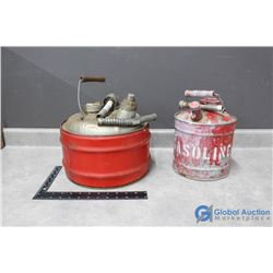 (2) Vintage Gas Cans with Spouts