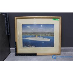 """Framed Canadian Pacific """"Empress of Britain"""" Print"""