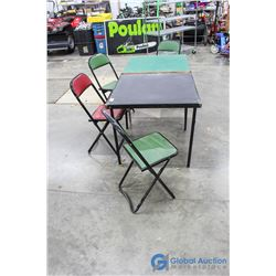 ** (2) Vintage Card/Folding Tables & (4) Folding Chairs