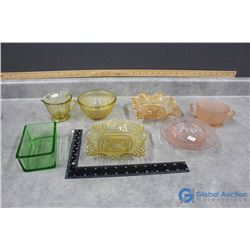 Variety of Green, Pink & Yellow Depression Glass