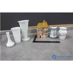 White Glass, Winkle England And Other Vases and Cookie Jar