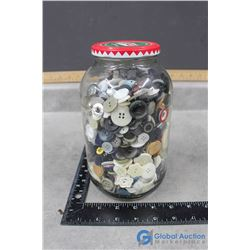Glass Jar of Misc Buttons