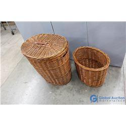 (2) Wicker Baskets - One with Lid