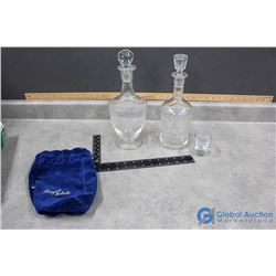 (2) Glass Decanters & Shot Glass