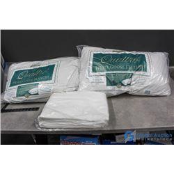 (2) White Goose Feather Pillows & Queen Sheet Set