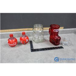 Misc Glass & Collectibles - A&W, Coca-Cola, Kraft Peanut Butter