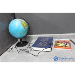 Plug-In Globe & (2) Travel Related Books