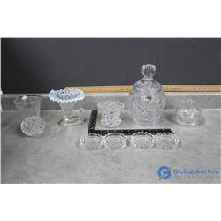 Crystal Glass & Clear Glass Coasters, Vases, Cheese Dish