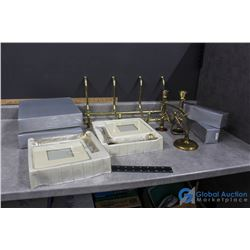 Brass Picture Frames, Candle Sticks In Box & a Fruit/Towel Rack