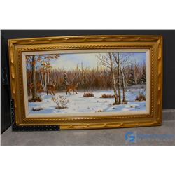 Framed Deer Canvas Painting by G.Lachambre