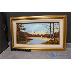 Framed Duck Canvas Painting by G.Lachambre