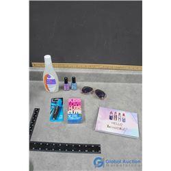 Erasers, Post-it Book, Nail Polish, Remover & Sun Glasses