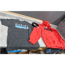 Red Puma Sweater (XL), Hurly T-Shirt (Med) & Nike Belt (40)