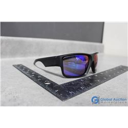 Sunglasses Black Frame Blue Reflective Lens