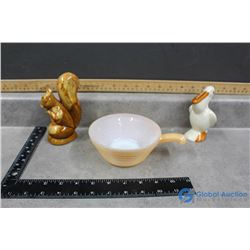 FireKing Handled Bowl, Pelican Bank & Squirrel Figure