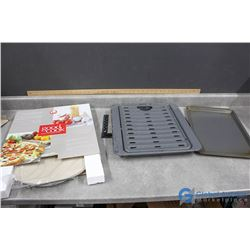 Pizza Baking Stone, Rack in Box & Other Baking Pans