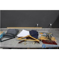 Assortment of 14 Wooden Hangers; Garment Bags & Related