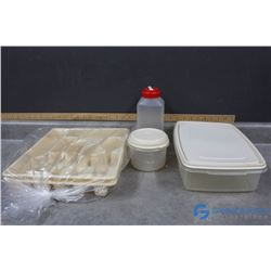 (2) Plastic Cutlery Trays, & Rubbermaid Food Storage Containers