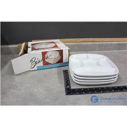 Bianca Set of 4 Fondue Porcelain Plates w/Box
