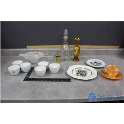 Fire King Tea Cup & Saucer, CP Air Cups, Glass Decanter