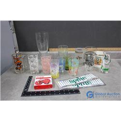 Misc Glasses, Sprite Stickers, Coca-Cola Coasters