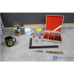 Cutlery Set, Cups, Disney Glass Cannister