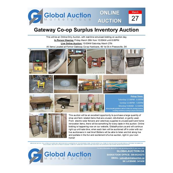 Welcome to The Preeceville Gateway Co-op Inventory Reduction Auction!
