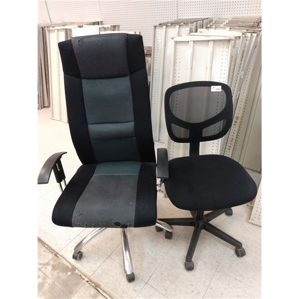 (2) Used Office Chairs - Mesh Back Office Chair; High Back Office Chair