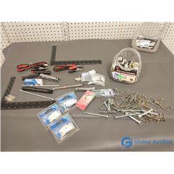 Assorted Unused Hardware & Tools, Pocket Screw Drivers, etc