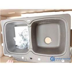 Unused Granite Composite Double Undermount Kitchen Sink - Broken Corner