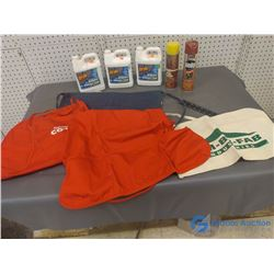 NOS Furniture Polish, Fabric Aprons, & 3 Jugs of Oil Lift Oil Stain Remover