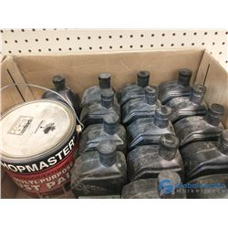 (15) 1L Bottles of 15W-40 Diesel Engine Oil & (1) 3.78L Metal Primer Rust Paint