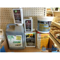 (2) Cans Furniture Stripper, (1) Small Pail Flexible Floor Patch & Leveler, and Misc