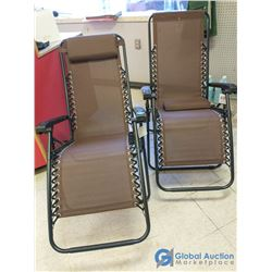 Dark Brown Mesh Folding Zero-Gravity Chair - Bid Price Per Chair, Times 2