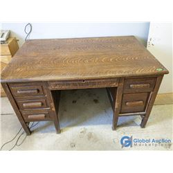 "Vintage 6-Drawer Oak Desk - 52"" x 34"" x 30"""