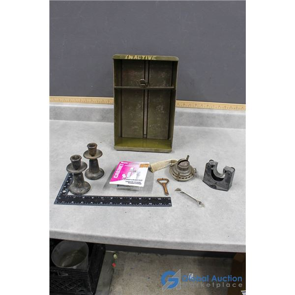 Metal Filing Drawer with Misc Items