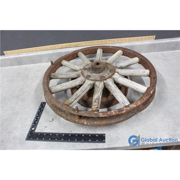 """**Vintage Steel Wheel w/Wooden Spokes - 21"""""""