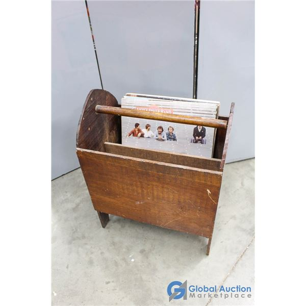 **Wooden Magazine Holder with (7) Records