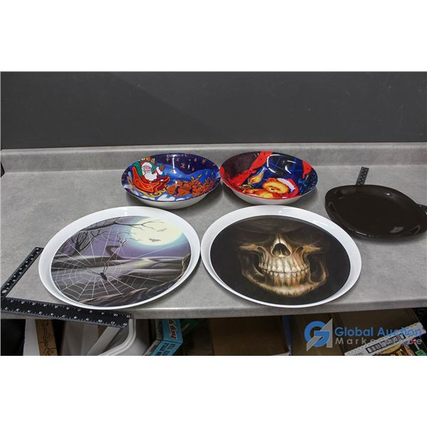 Holiday Trays (plastic), Bowls (plastic) and a Black PLate (ceramic)