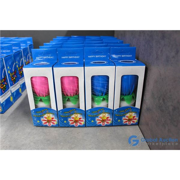 (6) Packs of 4 Musical Flower Candles