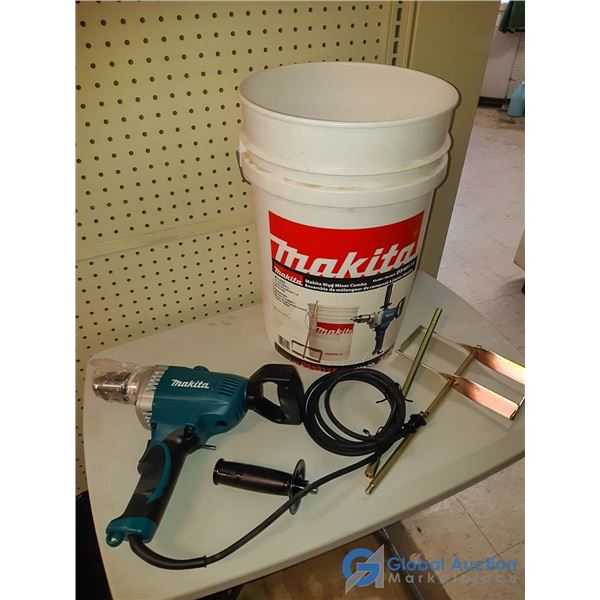 """Unused Makita 1/2"""" Corded Drill w/Mixer Attachment & Mixing Pail"""