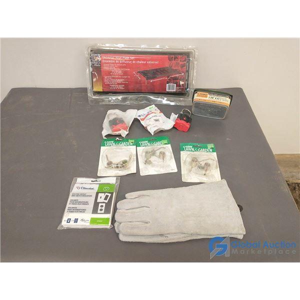 Unused Welding Gloves; Unused Lawn Thatch Rake Springs & (3)Unused Self Keying Pad Locks & Screws